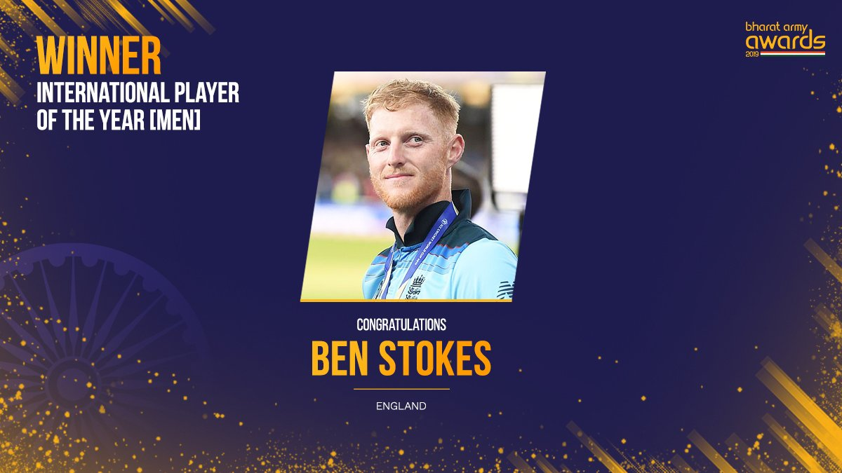 Congratulations to @benstokes38 on winning #internationalplayer of the year award in #BharatArmyAwards2019  No one forgot his #worldcup2019 #worldcupfinal innings and #engvaus test match #england won by 1 run. Remember the name #benstokes<br>http://pic.twitter.com/ROCg3gNRaN