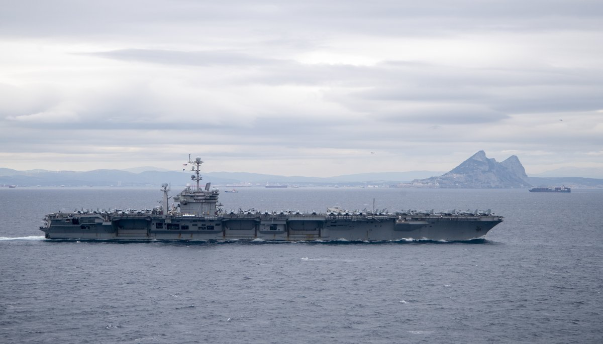 #Carrier HARRY S #TRUMAN CVN75 passed eastbound thru the Strait of #Gibraltar Thu 5 Dec to enter the Mediterranean. #Cruiser #NORMANDY CG60 in the lead with Spain-based #destroyer #ROSS DDG71 astern. #CVW1 Carrier Air Wing 1 is aboard Harry.
