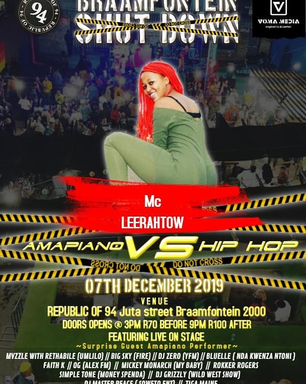 I want to see YOU! @republicof94  We have the hottest MCs: Leerathow and Malerato Tsele If we were in church, I was going to let them hold izitsha zomnikelo But they'll give us all the entertainment . Tomorrow! Tickets from R70 #HiphopVsAmapiano  #BraamfonteinShutdown <br>http://pic.twitter.com/Gp27TGSZVb