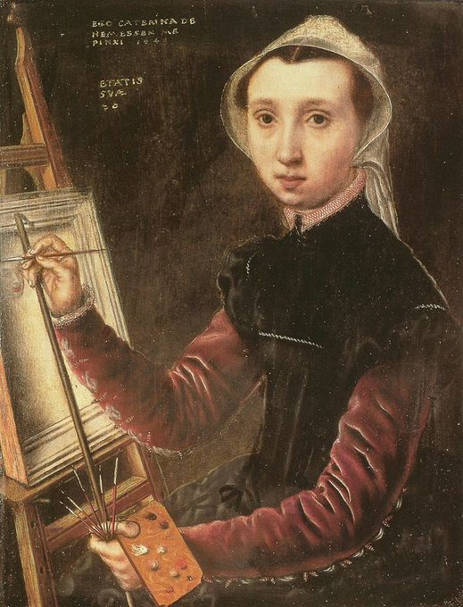 Caterina van Hemessen (1528-1587) Flemish painter credited as first artist to create a self-portrait with easel #womensart