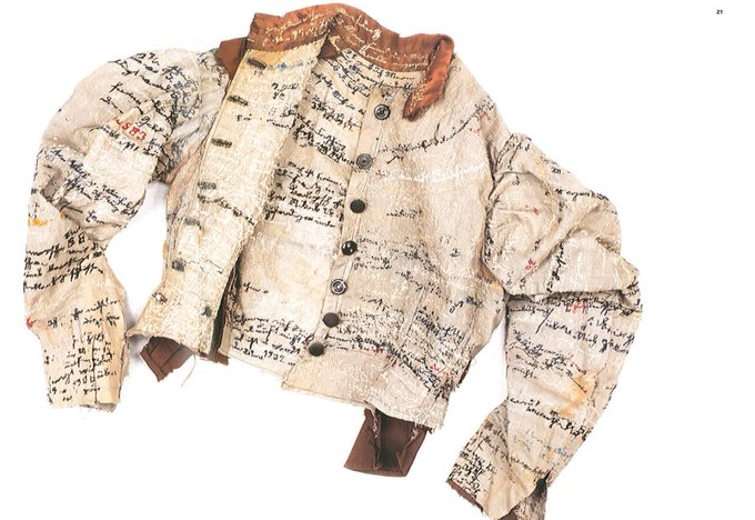 Linen jacket by Agnes Richter, a seamstress who was forced into an Austrian asylum during the late 1800′s and who embroidered her life story onto the jacket as an attempt to regain her identity #womensart