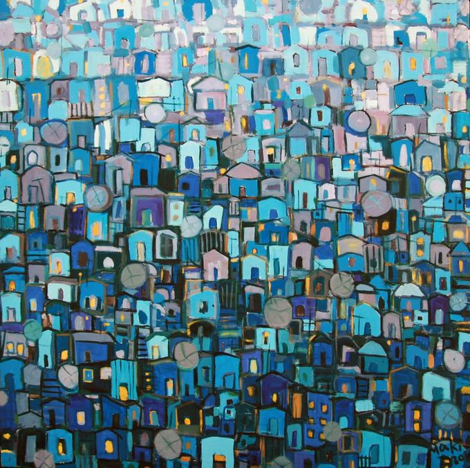 Ethiopian artist Makeda Bizuneh, The Roofs in the Moonlight (c.2013) #womensart