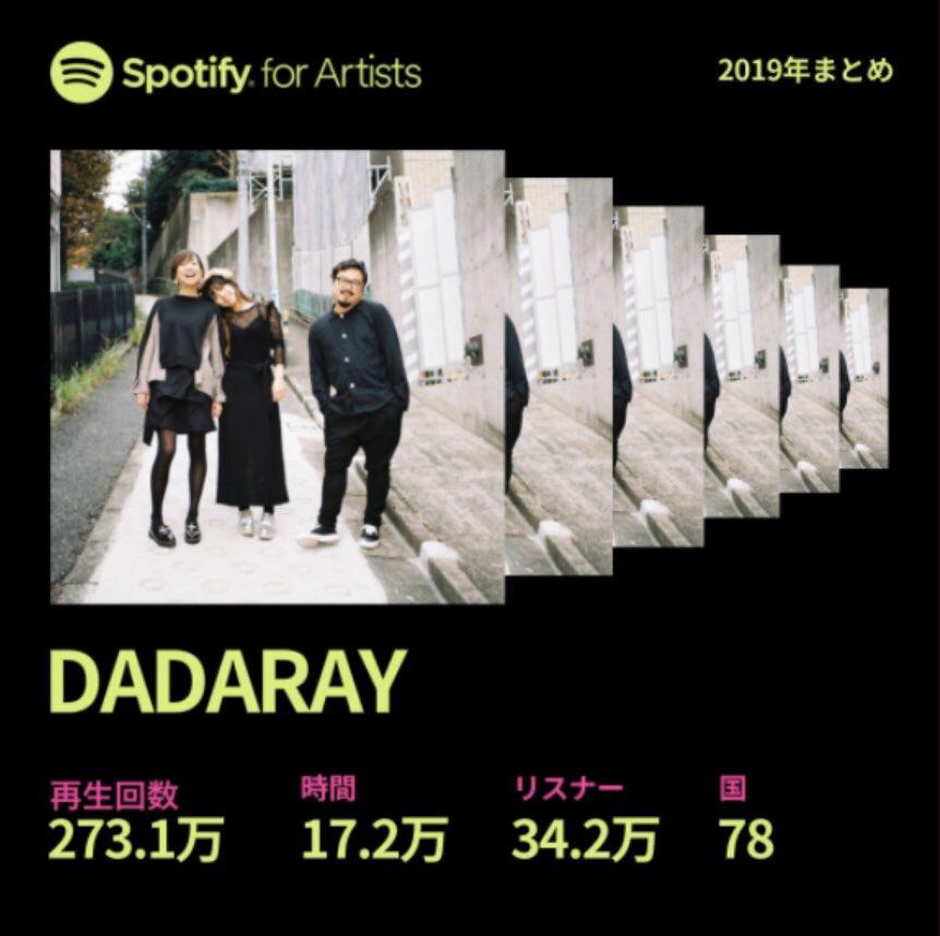 ありがとうございます!#Spotify DADARAYアーティストページはこちらから↓