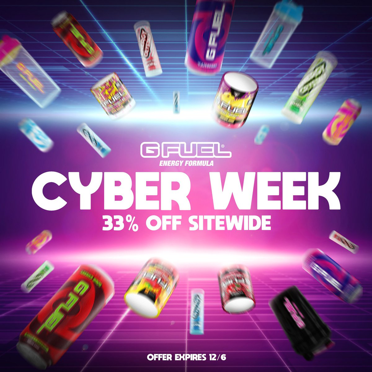 """⚠️ PROMO UPDATE ⚠️  Today is the LAST DAY to use Promo Code """"CYBERWEEK"""" for 33% OFF on ALL #GFUEL ORDERS, folks!!! Head to the link below to get in on the action!  SHOP: https://t.co/ypKCuX9ApE ⚡️ https://t.co/dY9IVL3CGq"""
