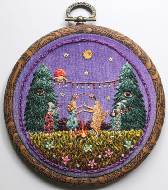 'Celebration in the Forrest' hand stitched embroidery by Irem Yazici, Turkish born textile artist #womensart   #FridayFeeling <br>http://pic.twitter.com/rTjNJb6GFw