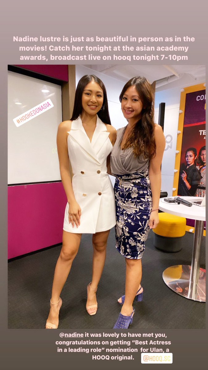"""Nadine Lustre is just as beautiful in person as in the movies! Catch her tonight at the Asian Academy Awards, broadcast live on hooq tonight 7-10pm Nadine it was lovely to meet u, congratulations on getting """"Best Actress in a leading role"""" nomination for Ulan thetravellingbelly <br>http://pic.twitter.com/09wV57MHAO"""