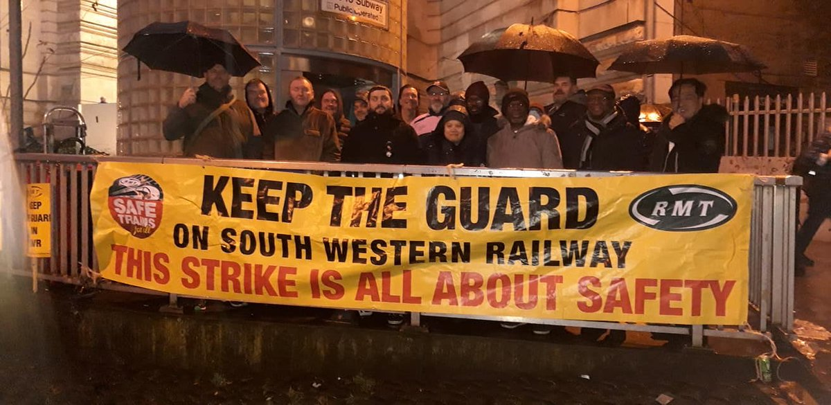 .@RMTunion members out in all weathers on the picket line at Waterloo today on day 5 of #swrstrike to #KeepTheGuardOnTheTrain