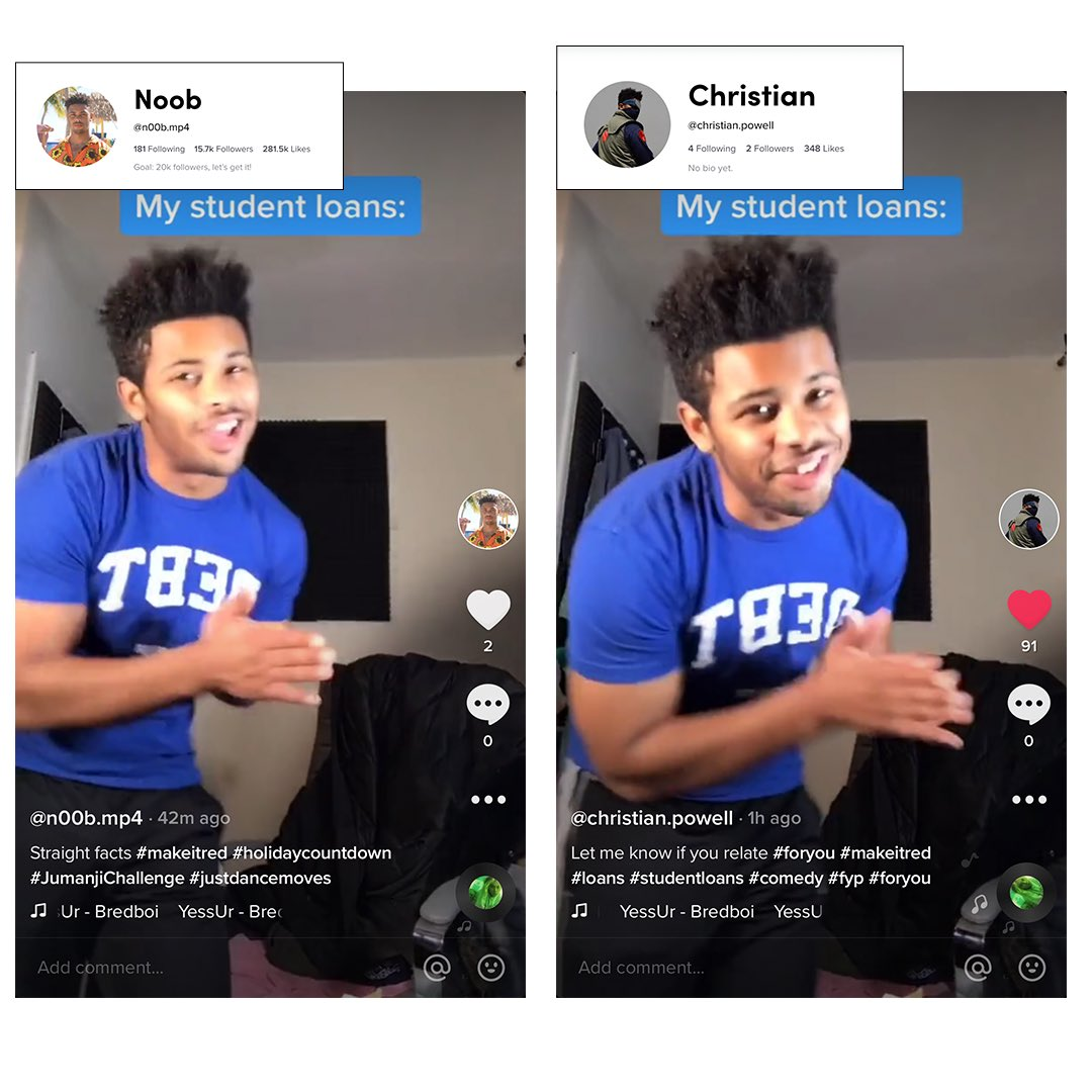 I can confirm that @tiktok_us @tiktokcreators does shadow ban it's users. How is it that my account with 15k garners less views and likes than a new account with 2 followers? It makes no sense.I uploaded the same video on 2 account 18 mins apart. #tiktok #Shadowban @verge