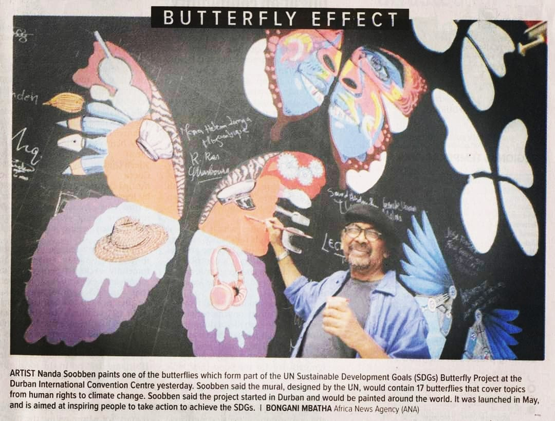 🖌Artist @nandasoobben painted the impressive #SDGbutterflyeffect🦋mural wall at the @DurbanICC during the @uclg_org Congress. @TheMercurySA exciting to see how the wings spread around the world inspiring people to commit to #ActNow to achieve all #SDGs. #ForPeopleForPlanet🌎