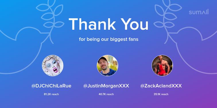 Our biggest fans this week: DJChiChiLaRue, JustinMorganXXX, ZackAclandXXX. Thank you! via https://sumall.com/thankyou?utm_source=twitter&utm_medium=publishing&utm_campaign=thank_you_tweet&utm_content=text_and_media&utm_term=9924009646bc3e6bf790f5dd…