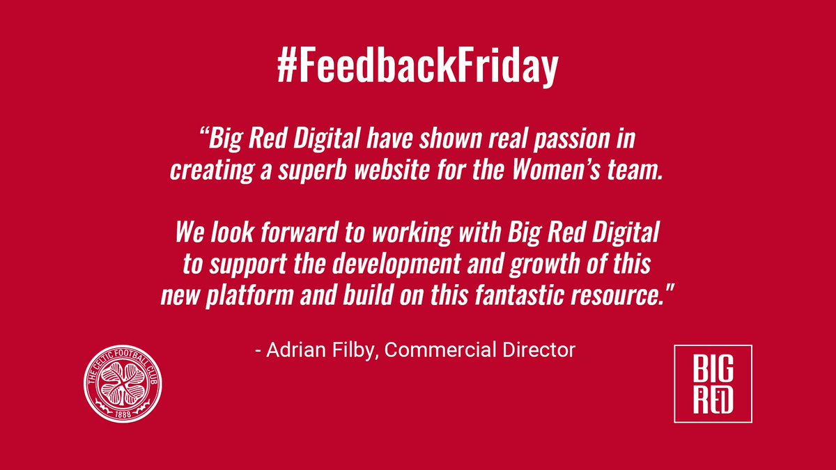 #FeedbackFriday   To read more about our project - click here -  https://www. big-red-digital.com/our-work/15/ce ltic-football-club/big-red-platform  …   #happyclients #fridayquotes #friyay #partnership #bespokeplatforms<br>http://pic.twitter.com/jomJaPc4co
