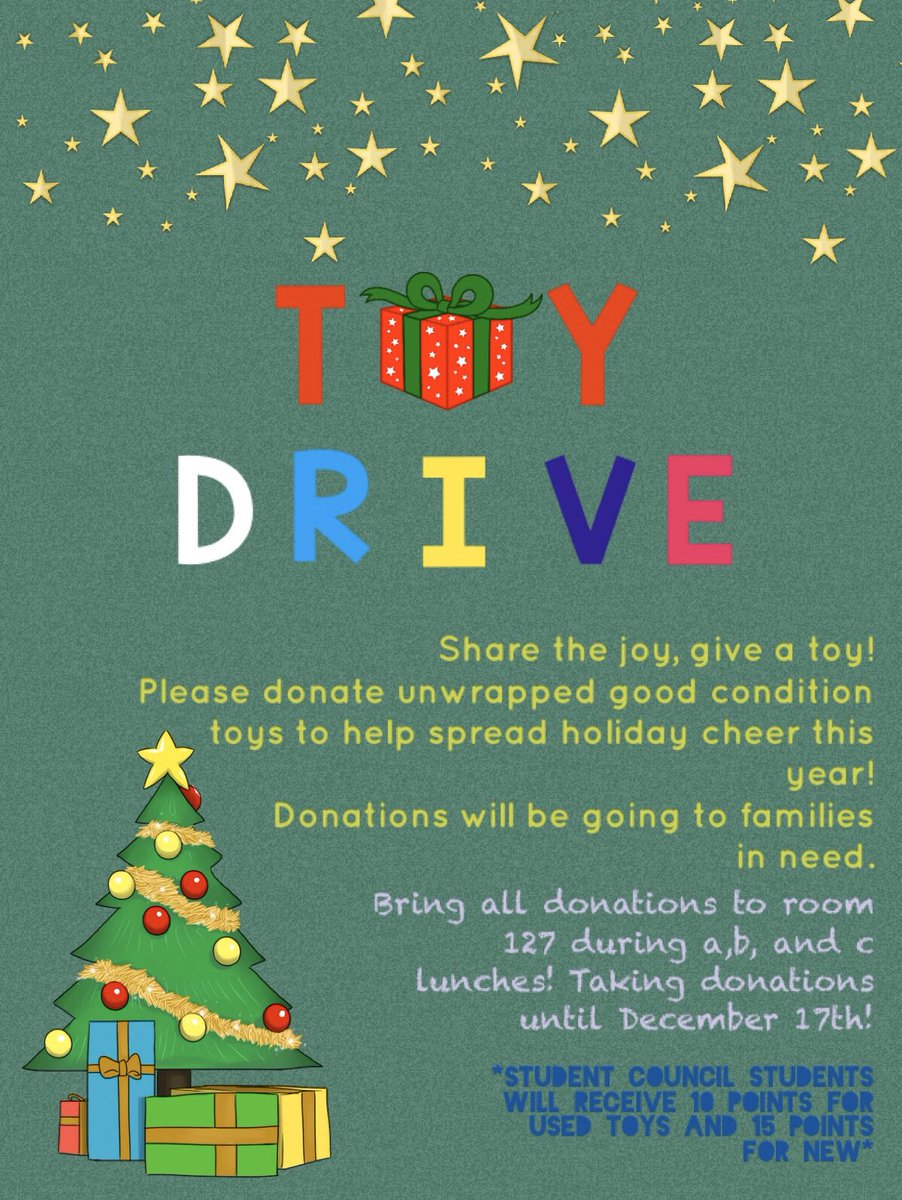 Student Council will be hosting a Toy Drive this december until Tuesday, December 17th! This is open for everyone around the school to donate, all donations will be given to families in need. ❤️ https://t.co/vqw9hXNdoO