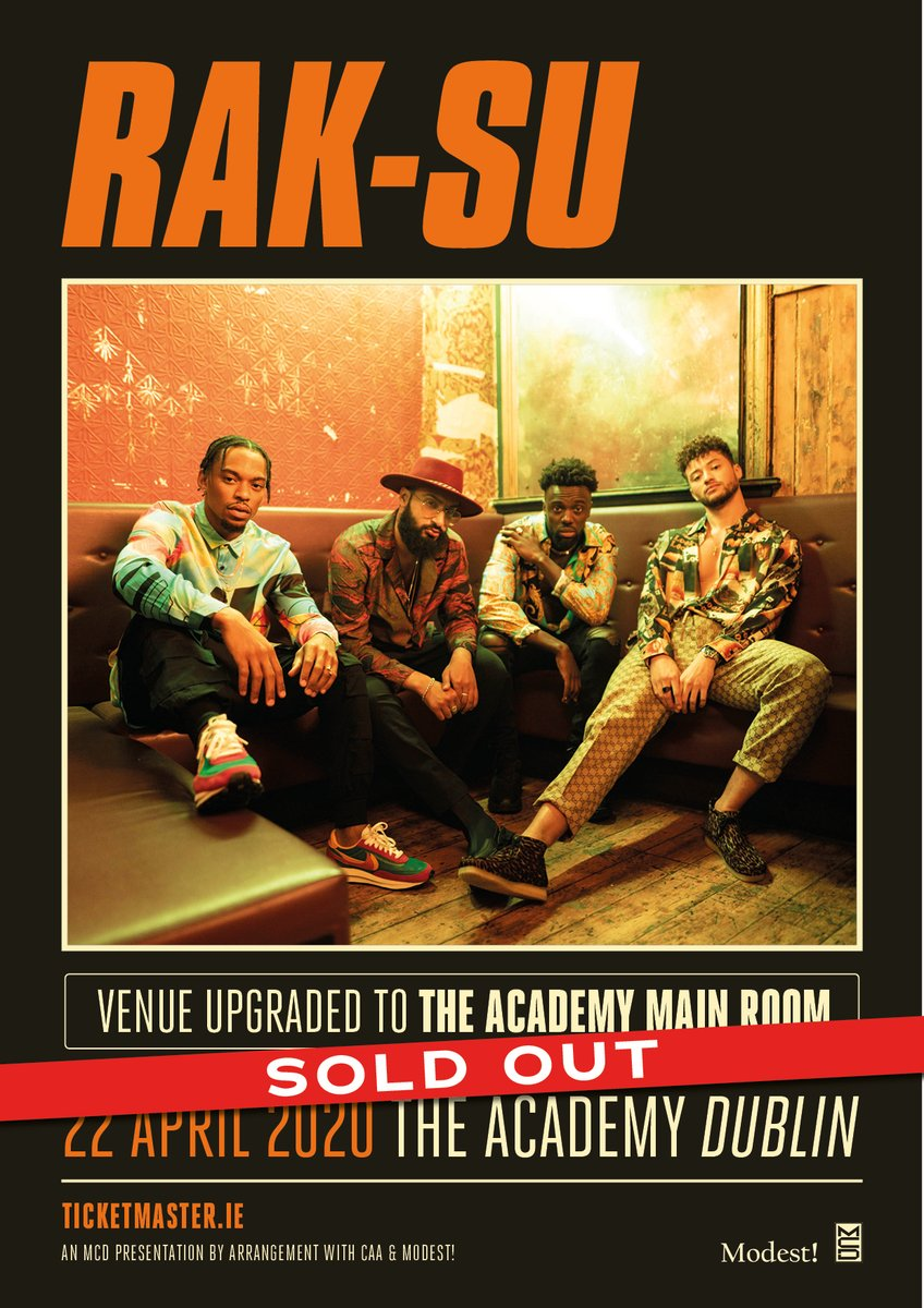 SOLD OUT // The @RakSuMusic show on 22nd April in the Academy is now totally sold out!