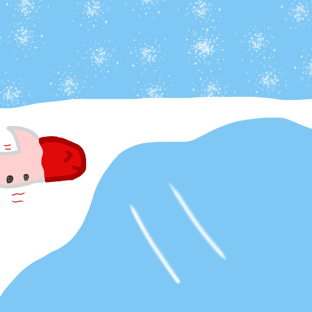#JackboxFanart Red Herring burying himself and becoming a snowfish