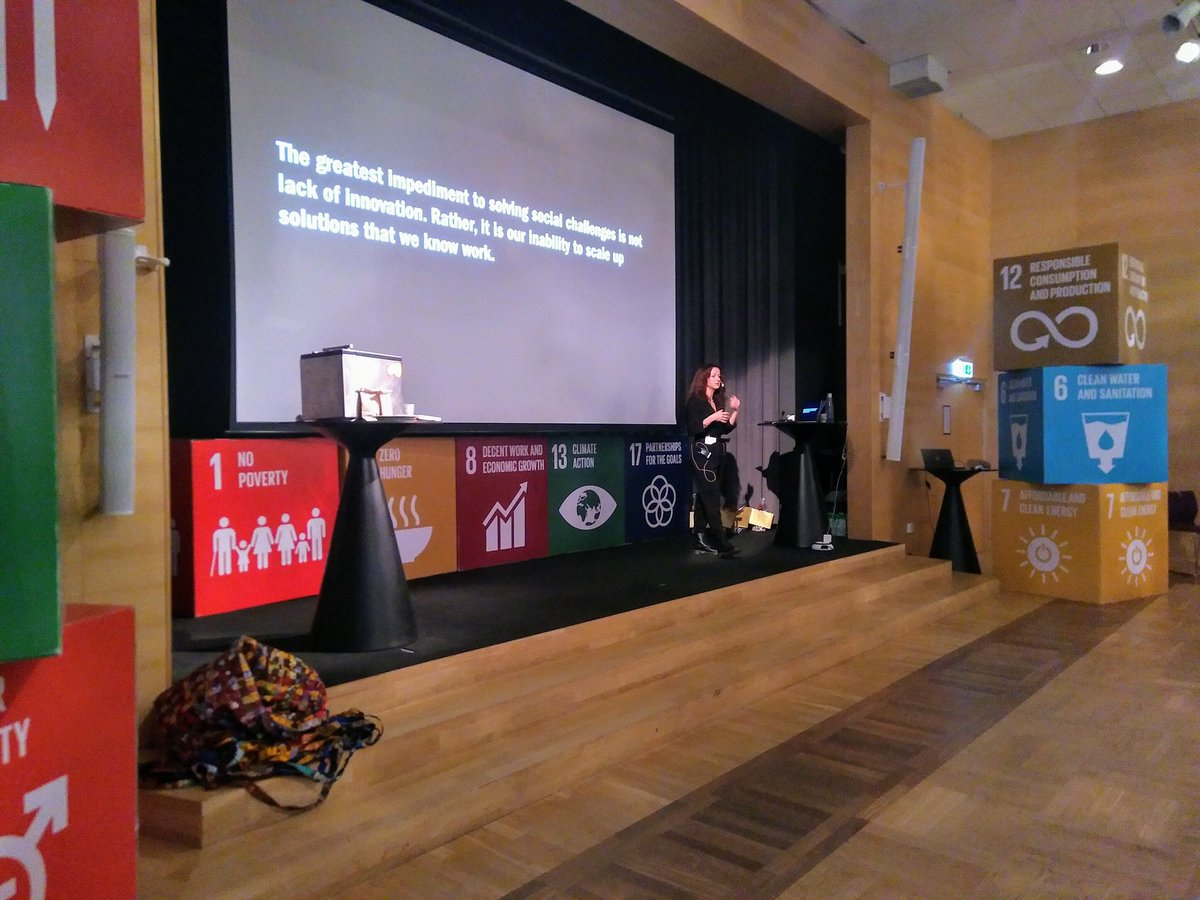 """""""The greatest impediment to solving social challenges is not lack of innovation. Rather, it is our inability to scale up solutions that we know work"""". Inspiring talk by @FundaSezgi about @norrsken_org's work with  #socialentrepreneurs and #impactbusiness at #IBF2019 pic.twitter.com/CEw0l6o9K5"""