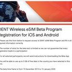 Image for the Tweet beginning: #DENT #eSIM Beta Registration is