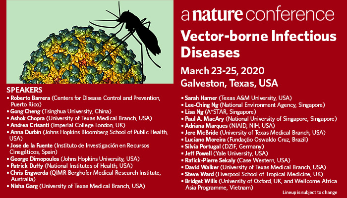 Join us in Galveston, Texas on March 23-25, 2020 for the @NatureConf on Vector-borne Infectious Diseases  Co-organized by @utmbhealth @NatureComms @Nature_NPJ  https://go.nature.com/369lvEY  #VectorborneID20