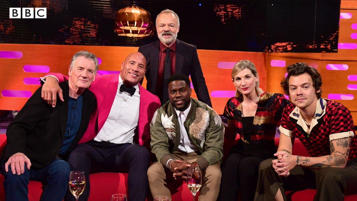 Tonight on The Graham Norton Show, ⭐️ Michael Palin ⭐️ @TheRock ⭐️ @KevinHart4real ⭐️ Jodie Whittaker ⭐️ @Harry_Styles 🌟 @grahnort #TheGNShow | BBC One | Tonight, 10.40pm