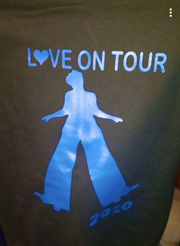 my girlfriends mom made this shirt for me for Christmas and tour. it has some text on the front as well. i LOVE it. how lucky am i? ❤️ #LoveOnTour #HarryStyles #FineLine