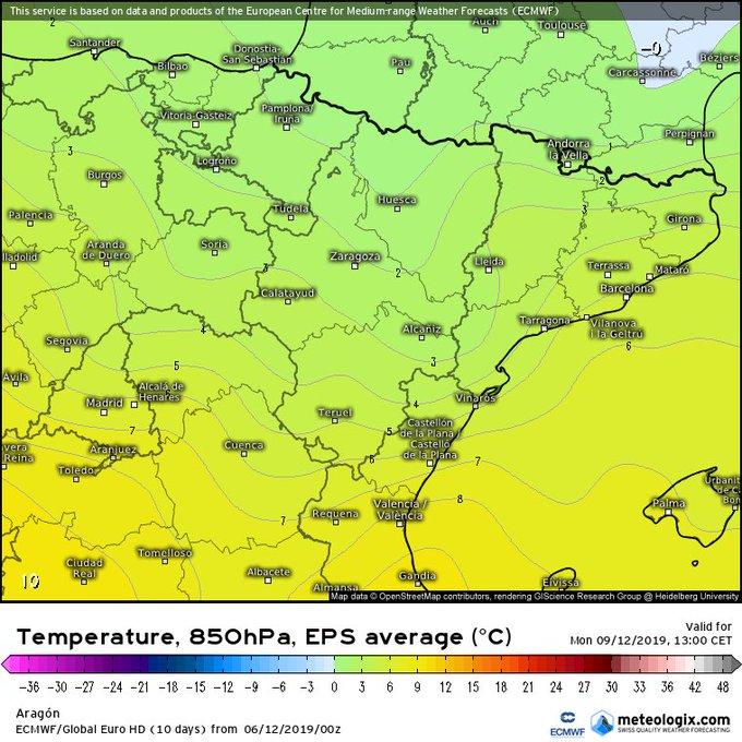 Sabado ⛅ Domingo☁️-🌧 Parece que el Lunes tendremos flujo del N-Nw moderado sobre el Pirineo que acumulará mucha ☁️ en vertiente norte y divisoria con 🌧-❄ en esas zonas. En vertiente sur 🌥. Temperaturas en ⬇️ con 1C° a 1550m. Cota de nieve 1400-1600m. El Martes ☀️.