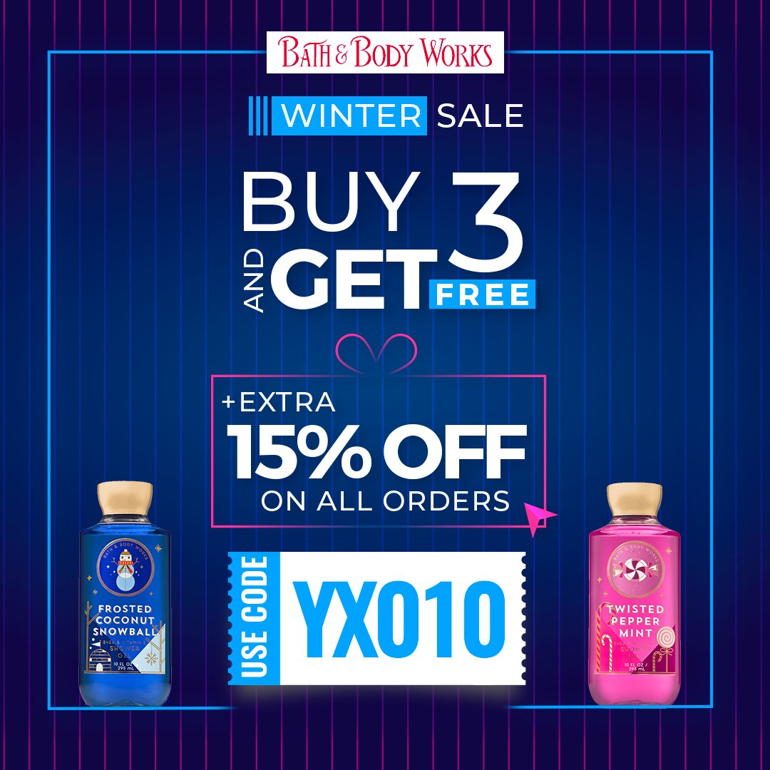 Buy 3 products and get 3 free by shopping online on Bath & Body Works. Enjoy extra 15% OFF with  exclusive promo code.  Discount Code: YX010  Visit:   #fashion #onlineshopping #uaediscountcode #discountcouponuae #bathandbodyworks
