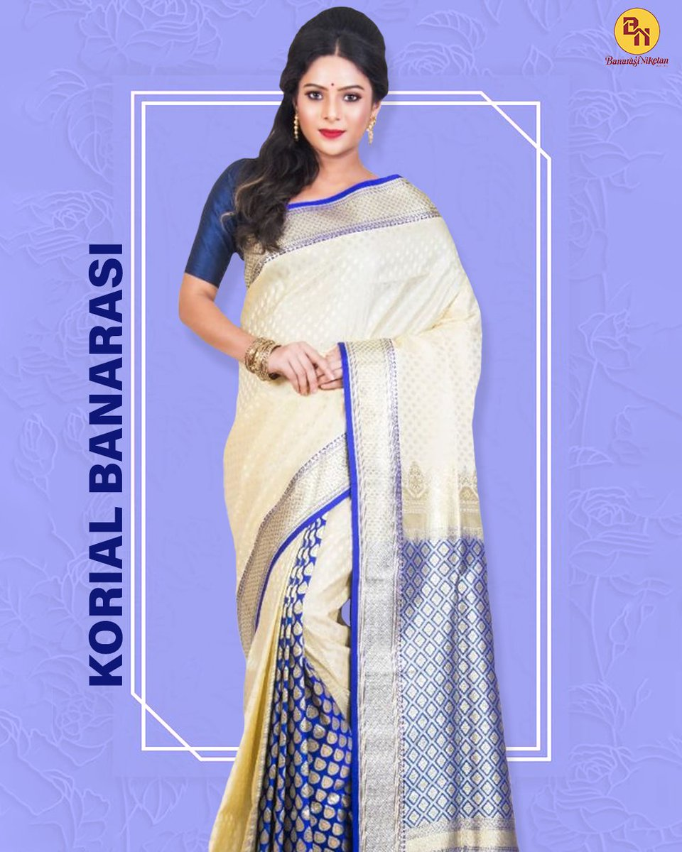 Tussar colour Korial #Banarasi saree with royal blue colour patli pallu. Preferable for wedding or puja #occasion. Order now 👉  . . #benarasi #sareesonline #Korial #sarees #tussarsaree #fashion #onlineshopping #sareestyle #bridalwear #bridalsarees #offer