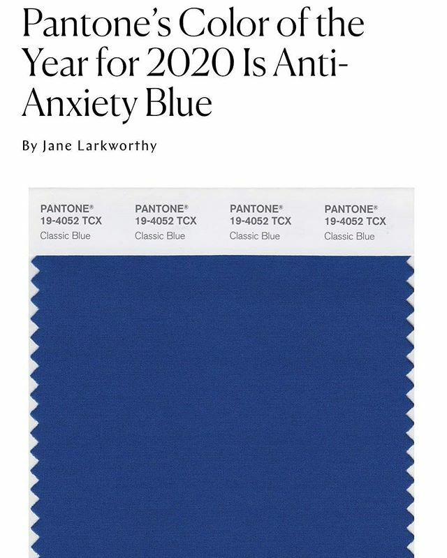 """#Repost @nymag • • • • • Pantone's color of the year is Classic Blue 💙 So, how did they land on this color? """"The color has to be emblematic of a global mood,"""" explains Laurie Pressman, vice-president of the Pantone Color Institute. """"In 1999, everybody was nervous about Y…"""