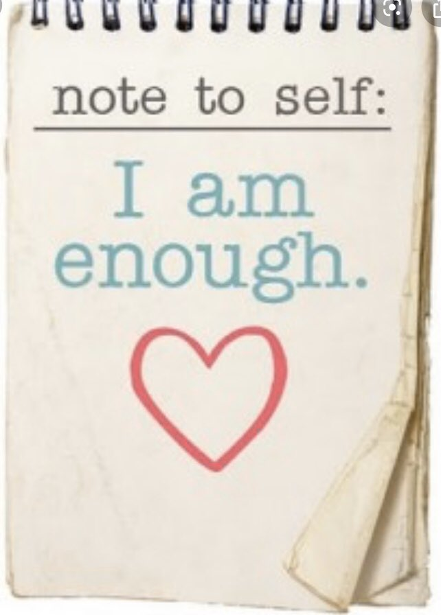 """In case you don't have the courage to do your mirror exercises today, I want to encourage you with this note to self: """"I am enough."""" #StarfishClub #mentalhealth #NotesToAYoungerMe<br>http://pic.twitter.com/6Nmpi7IBzm"""