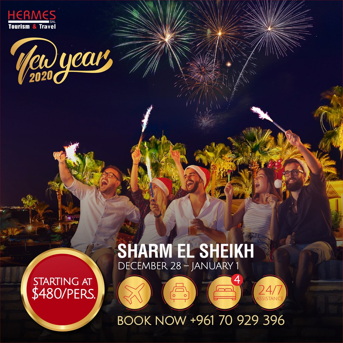 Spend a wonderful New Year's Eve in Sharm El Sheikh! For booking, contact us on info@hermestravel.com.lb or 00961 70 929396 or 00961 1 426380/1/2