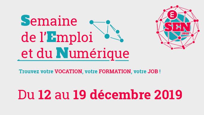 Du 12 au 19 décembre, c'est la Semaine de l'#Emploi et du #Numérique dans toute la Métropole de #Lyon 🗓  Au programme, des rdv gratuits et ouverts à tous pour découvrir les formations et les métiers du numérique et rencontrer ses acteurs !  👉 https://t.co/Tud5HzBMhH #SEN2019 https://t.co/nxG45Utn6k
