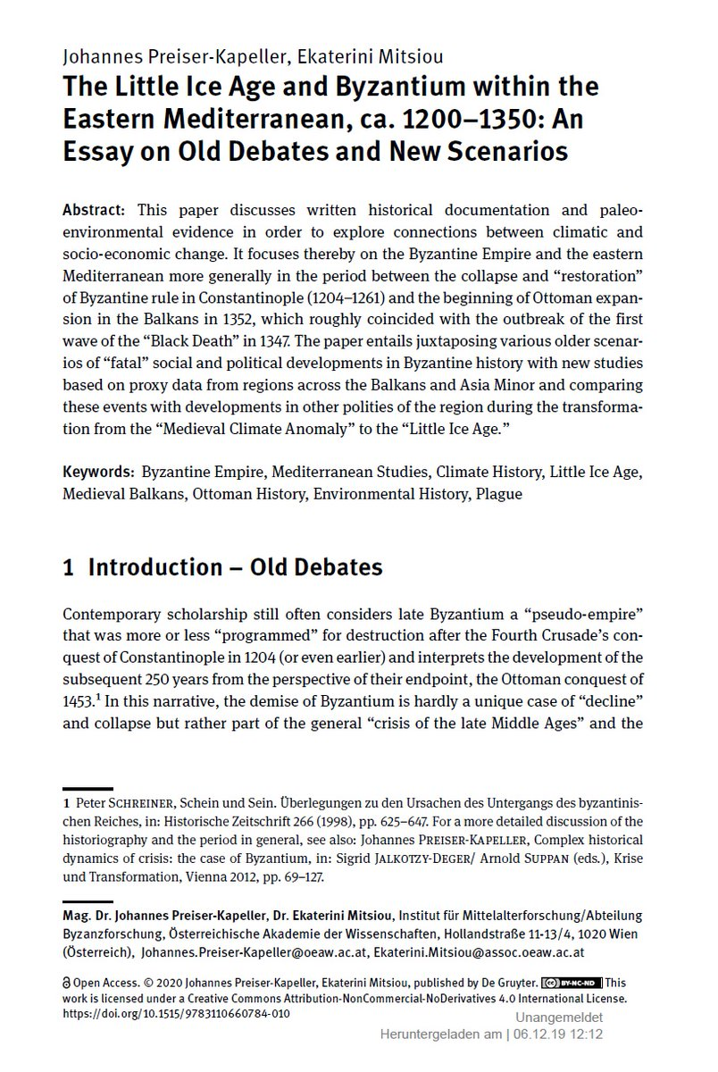 Sharing because I enjoy @ClimateHist.  Now out (open access): The Crisis of the 14th Century Teleconnections between Environmental and Societal Change?, ed. M. Bauch/G. J. Schenk: https://t.co/kbydObxjPx
