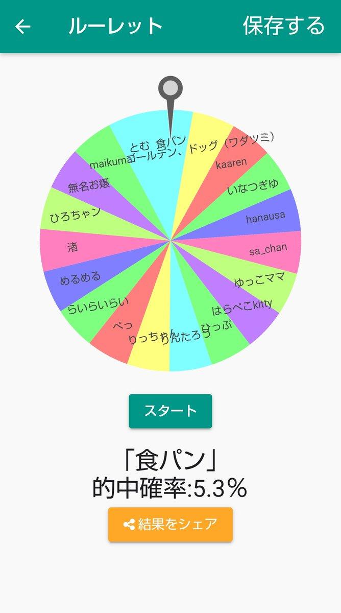 ルーレットの結果「食パン」になりました!(的中確率:5.3%)#ふつうのルーレット【Android】【iOS】