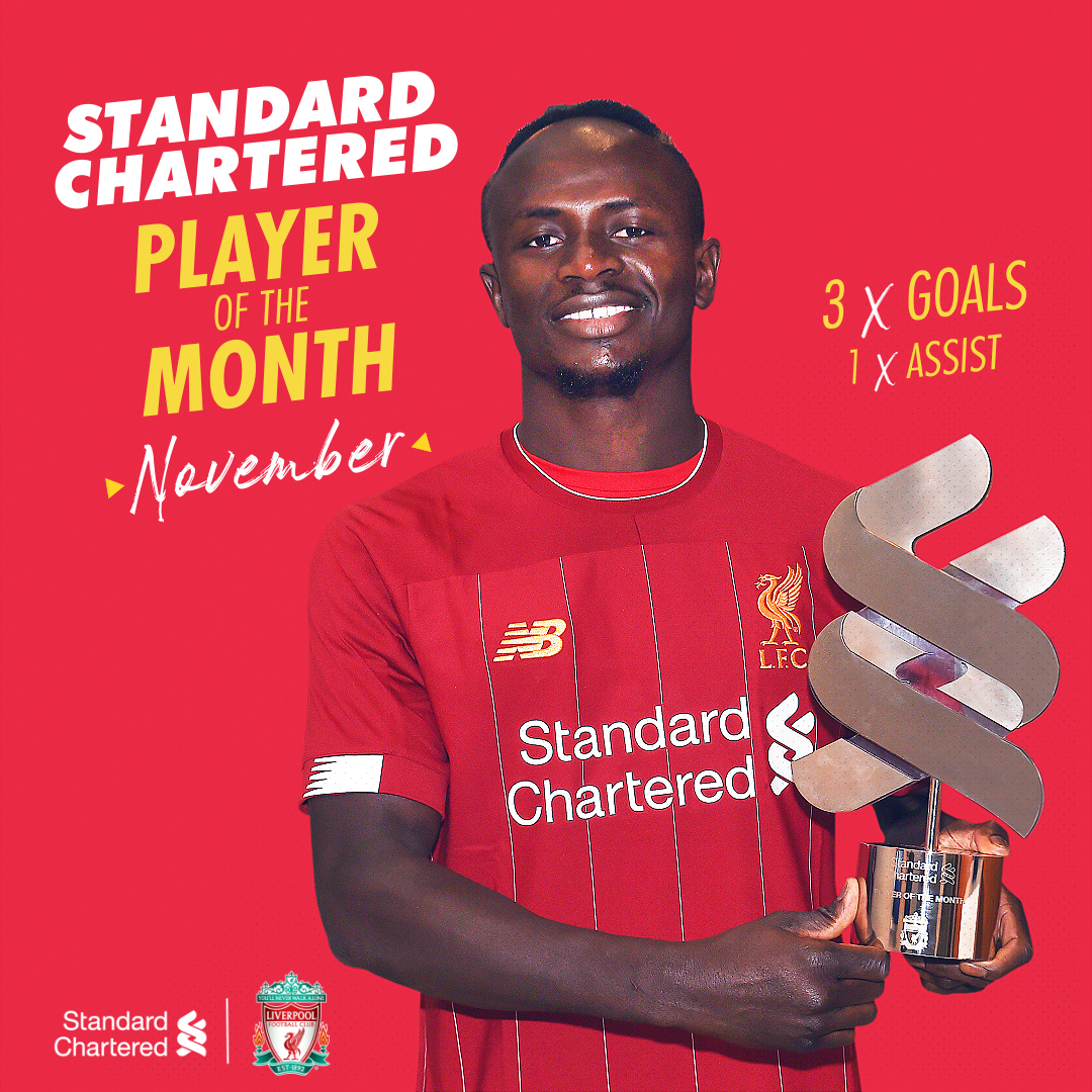 WELL IN, SADIO! 🤩 The @StanChart Player of the Month for November 👏
