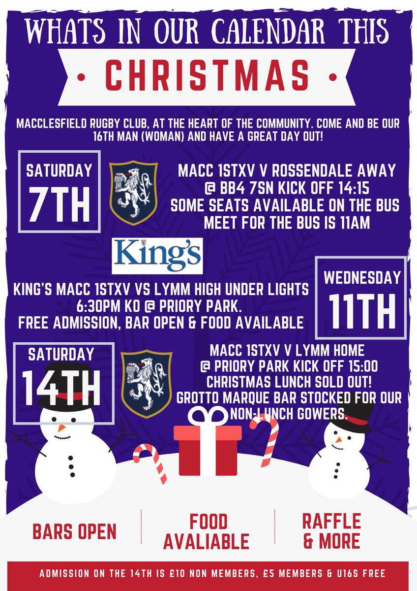 test Twitter Media - @MaccRUFC at the heart of the community. Come and be our 16th man (woman) & have a great day out - this Sat away @RossendaleRugby, 14th v @LymmRugbyClub @ Priory Park & also support one of our partner schools @KingsMacRugby by providing a big crowd on the 11th. Bar & Food at all! https://t.co/01wFO7QPto