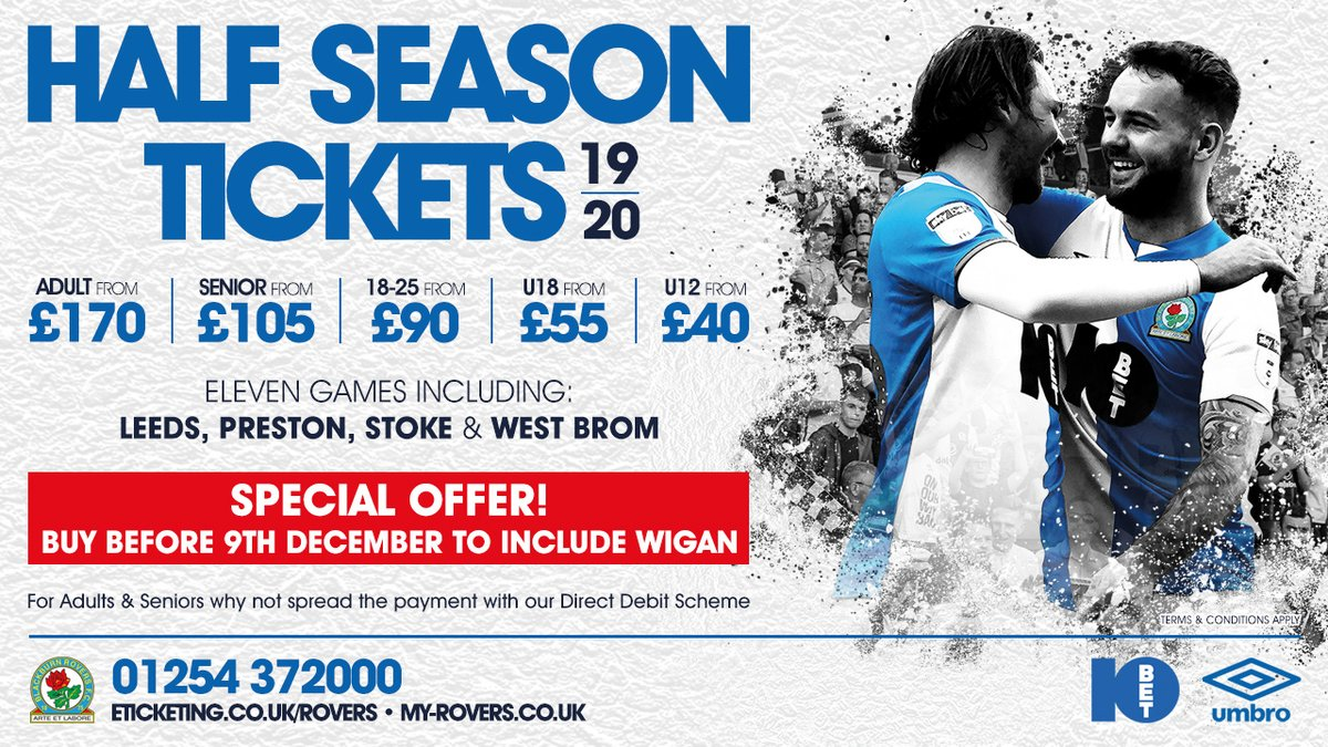 🙌 Substantial savings and up to five games FREE against match by match pricing! 🎄 A Half Season Ticket could provide the perfect stocking filler for a loved one this Christmas. ➡️ bit.ly/RoversHSTs1920 🎟️ eticketing.co.uk/onerovers #Rovers 🔵⚪️