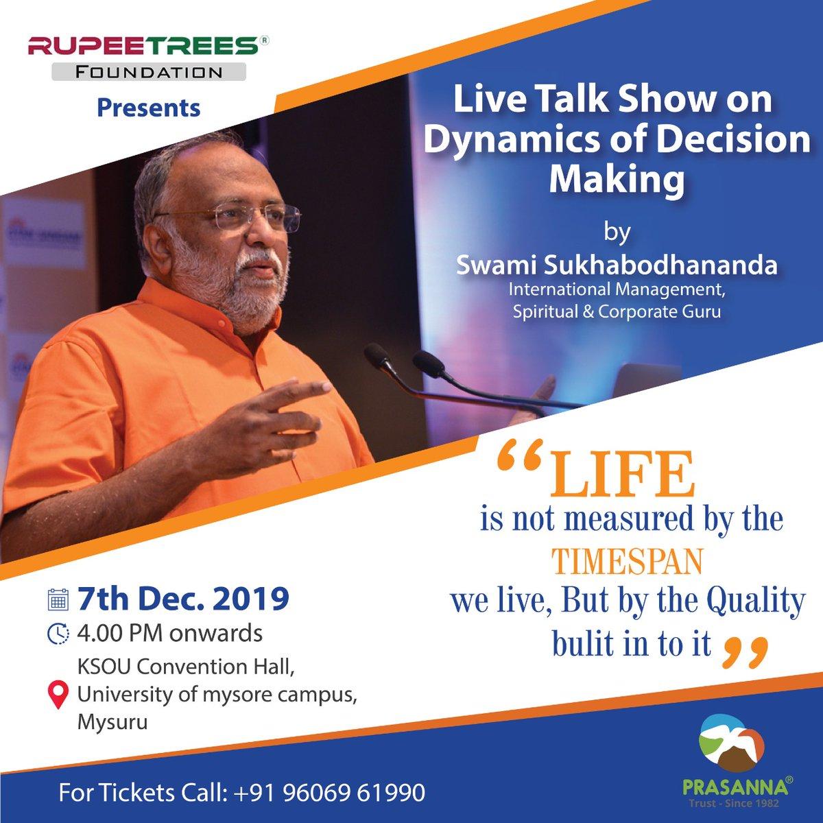 #eventsinmysore #RupeetreesFoundation #swamisukhabodhananda #prasannatrust #mysoreevents #live #dynamics #decisionmakingpic.twitter.com/l3xAKTDMsg