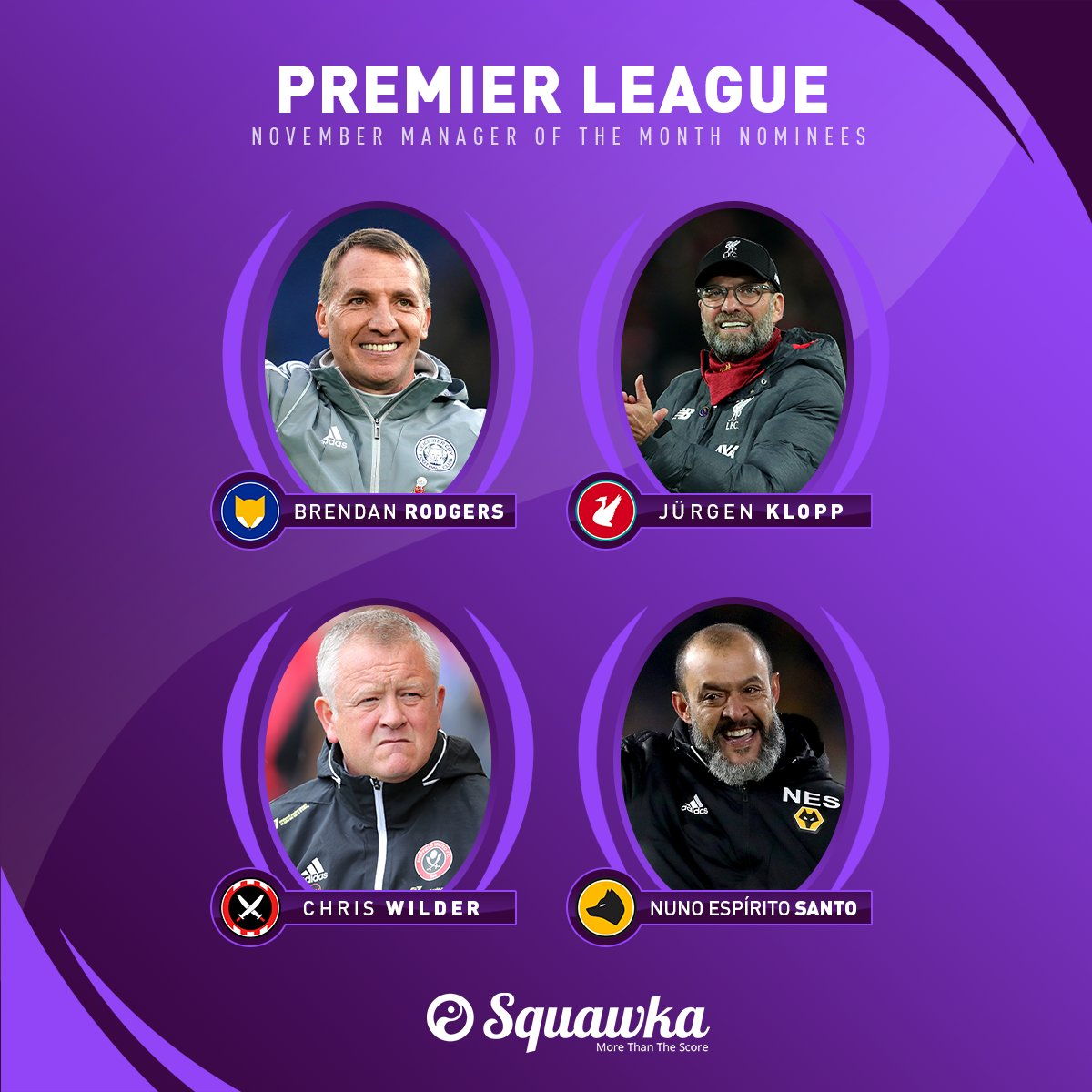 OFFICIAL: The Premier League November Manager of the Month nominees: • Brendan Rodgers • Jürgen Klopp • Steve Wilder • Nuno Espírito Santo Who are you backing to win?