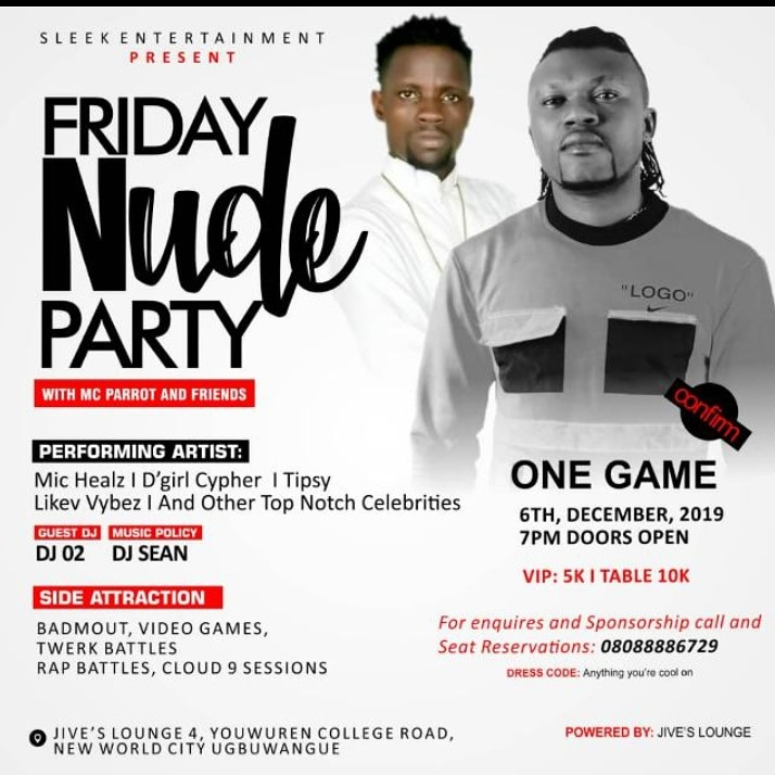 It's a day you don't wanna missed turn up to jives club tonight @ugbuwangwe town warri Delta State alots of artist like @onegame1988 @iam_michealz @GirlCypher @tipsyyana@mcparrot And more..................6:00 tilling Mama's call 6th December 2019 pic.twitter.com/ufX2FaCZPB