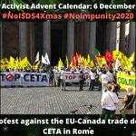 Image for the Tweet beginning: #NoISDS4Xmas calendar 6 Dec: Protest
