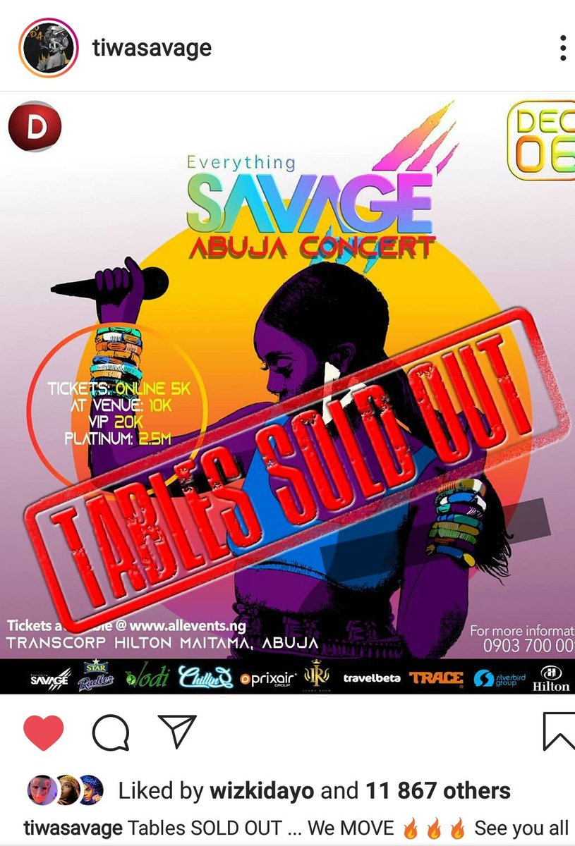 Sold out Bitches Now #MercyXTiwaSavageConcert  #MercyVictoryDay <br>http://pic.twitter.com/lMwA2ElcfC