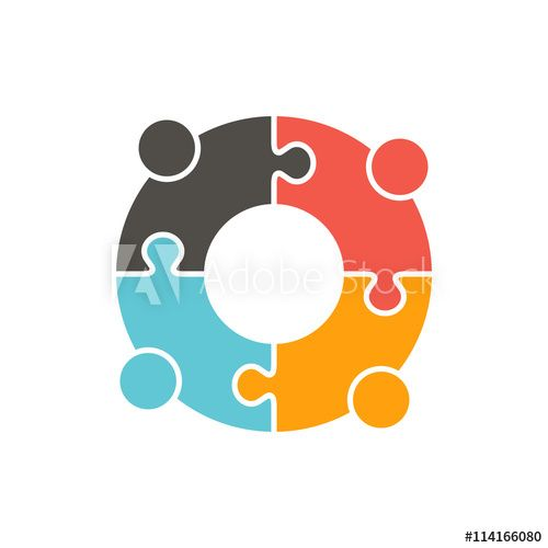 Teamwork People puzzle pieces. Vector   https://buff.ly/34Wr9KB #education #childrenlogo #school #childhood #child #people #learning #happy #background #white #kids #kid #young #illustration #student #vector #preschool #person #design #game #group #kindergarten #happiness