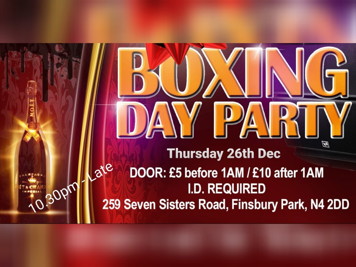 The one you have been waiting for... The BIG Boxing Day Party in North LondonThursday 24th December@BarOrleans Limited FREE & DISCOUNTED Tickets Available From Eventbrite#boxingday #christmas #xmas #party #nightclub #music #dancing #drinking #djs #partybangers #freetickets