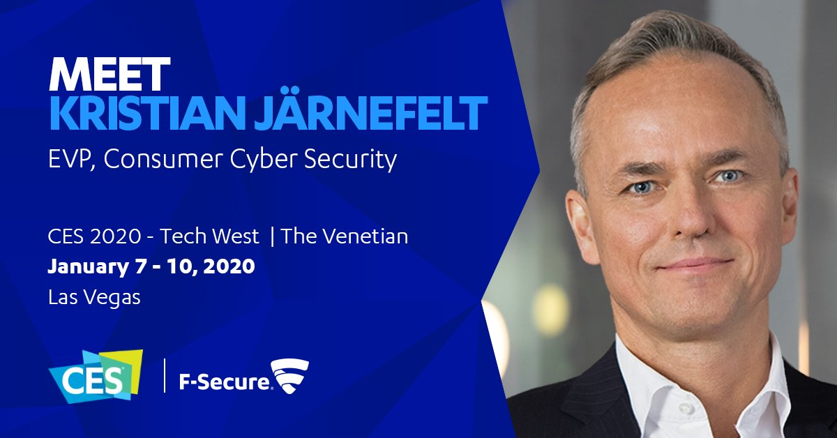 Heading to #CES2020? Want to know more about the simplest, most sensible way to secure connected homes?Meet Kristian Järnefelt, EVP, Consumer Cyber Security. https://secure.f-secure.com/ces-2020