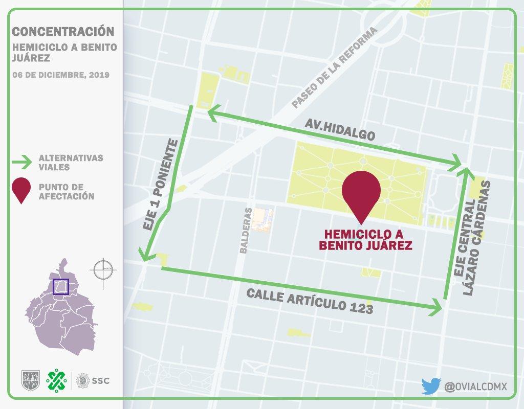 12:13 #PrecauciónVial por presencia de manifestantes en el Hemiciclo a #Juárez. Consulte aquí #AlternativaVial