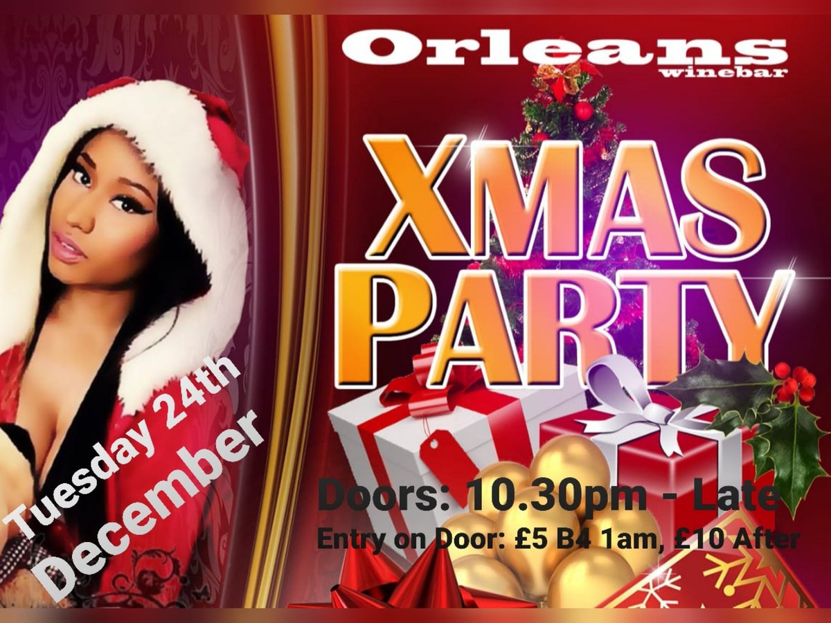 Join us for a Xmas Eve Special @BarOrleansTues 24th DecLimited FREE & DISCOUNTED Tickets on EventbriteGuaranteed to be a sell out event, get your tickets early to avoid disappointmentValid Photo ID Required#xmaseve #christmas #party #nightclub #music #dancing #freetickets