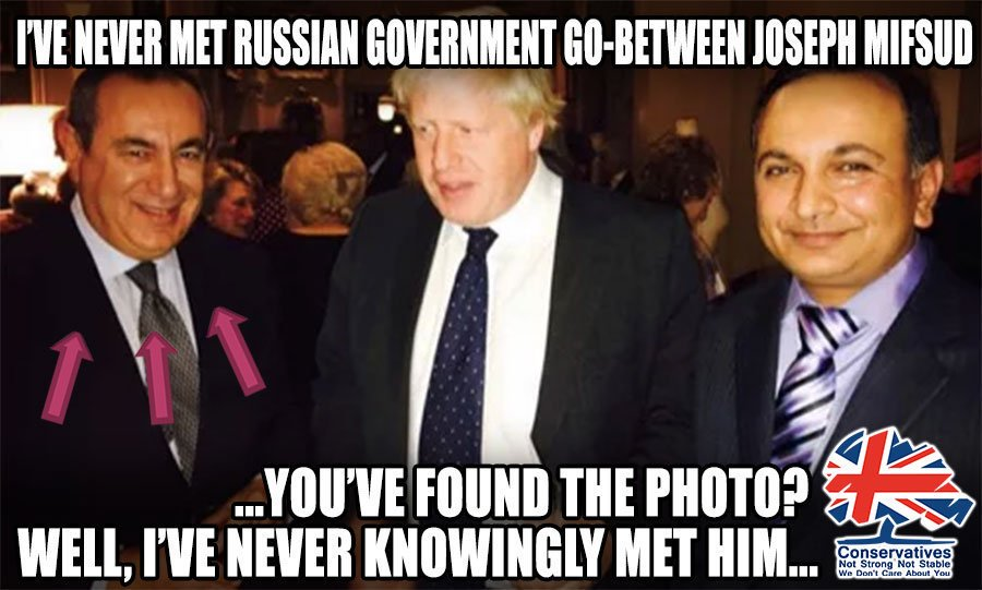 Boris Johnson denied having ever met Joseph Mifsud, a Russian go-between. Right up until photographic evidence appeared...   Mifsud is key figure in the FBI's Trump-Russia investigation   #ReleaseTheRussiaReport #bbcdebate #leadersdebate   https://www. theguardian.com/politics/2017/ nov/11/boris-johnson-met-london-professor-linked-to-fbis-russia-investigation   … <br>http://pic.twitter.com/D6lHw7zHHr