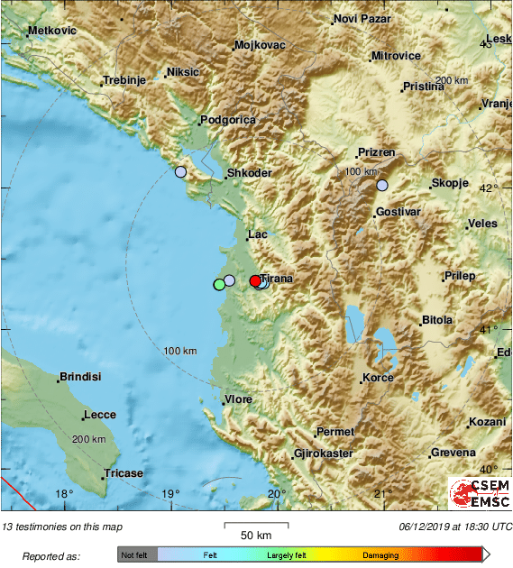 Several felt reports of a felt #earthquake received from #Albania.
