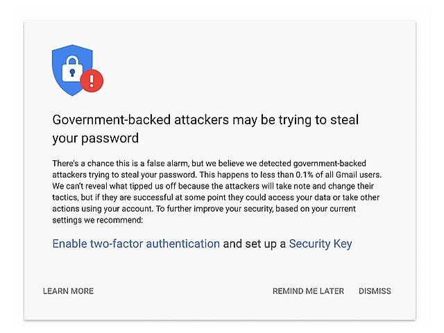 グーグル、政府の支援を受けたハッカーの標的を3カ月で1.2万件超検出