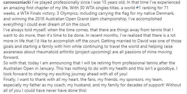Image for the Tweet beginning: Caroline Wozniacki announces she will