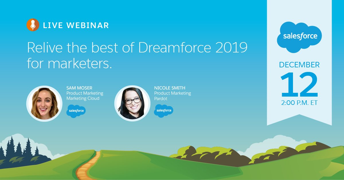 Relive the best of #DF19! Next week @SamMoserMiller and I are joining forces to share the top takeaways for marketers from @Dreamforce ☁️ https://sfdc.co/DF19Takeaways